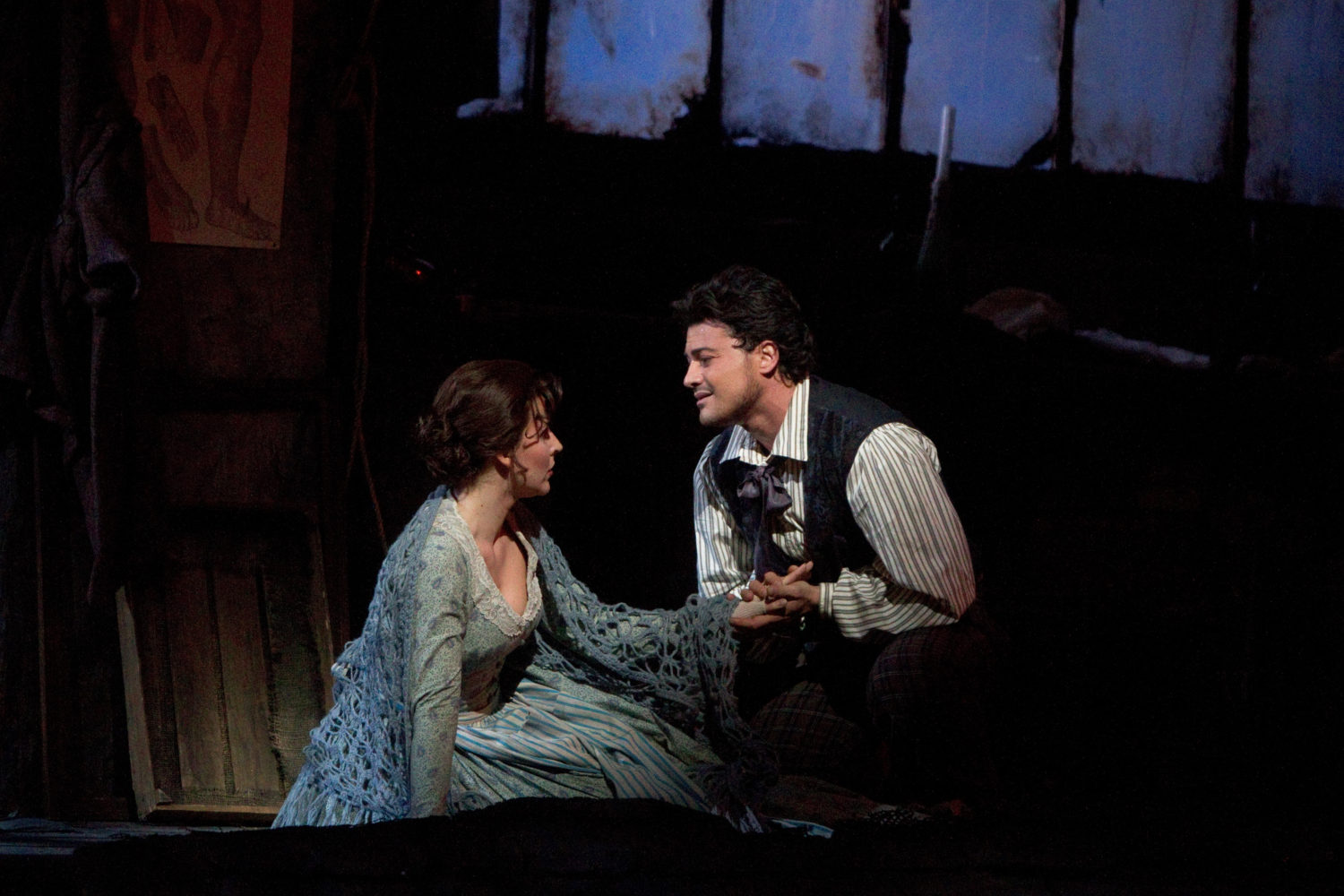 "Maija Kovalevska as Mim"" and Vittorio Grigolo as Rodolfo in Act I of Puccini's ""La Bohme."" Photo: Marty Sohl/Metropolitan Opera Taken during the performance on October 16, 2010 at the Metropolitan Opera in New York City."